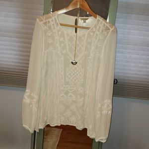 Lucky Brand Sheer Boho Blouse